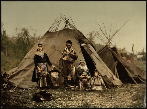 Lappenfamilie in Norwegen / Photochrom - -
