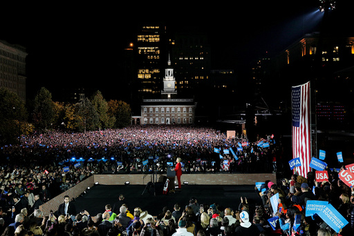 U.S. Democratic presidential nominee Hillary Clinton speaks at a campaign rally with U.S. President Barack Obama on Independence Mall in Philadelphia