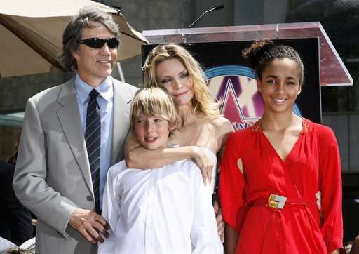 Actress Michelle Pfeiffer and family at the unveiling of her Hollywood Walk of Fame star during ceremonies in Hollywood