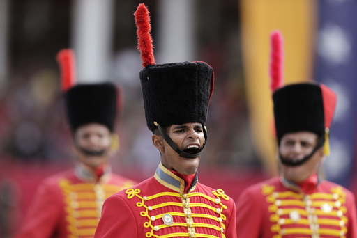 Soldiers march during a military parade to celebrate the anniversary of Venezuela's independence in Caracas