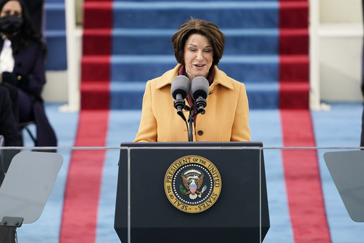 Sen. Amy Klobucher, D-Minn., speaks during the 59th Presidential Inauguration at the U.S. Capitol in Washington, Wednesday, Jan. 20, 2021. (AP Photo/Patrick Semansky, Pool)