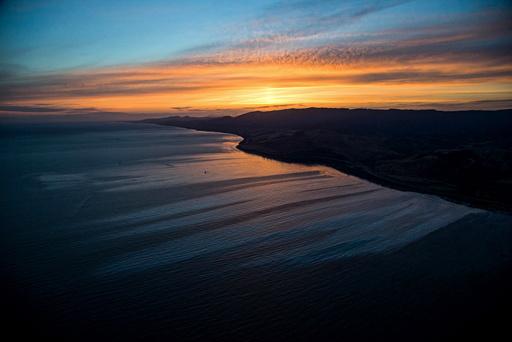 An oil spill is seen in the Pacific Ocean near Santa Barbara in Goleta