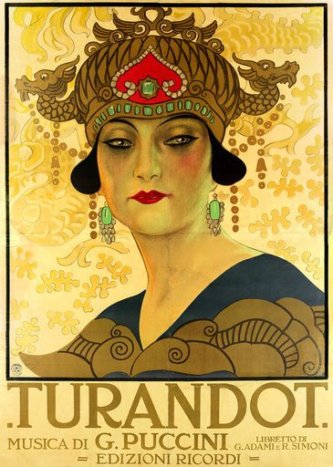 Poster for the opera Turandot at the Teatro alla Scala, 1926.