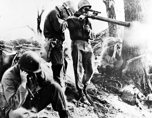American soldier with a bazooka during the Korean War