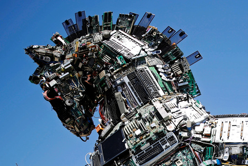 A close-up of the head of a Cyber Horse, made from thousands of infected computer and cell phone bits, is seen on display at the entrance to the annual Cyberweek conference at Tel Aviv University