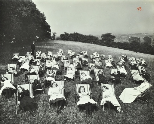 Children resting in deck chairs, Shrewsbury House Open Air School, London, 1908. Artist: Unknown.