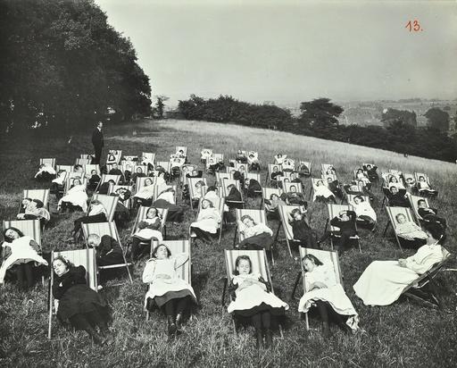 Children resting in deck chairs, Shrewsbury House Open Air School, London, 1908. Artist: Unknown.