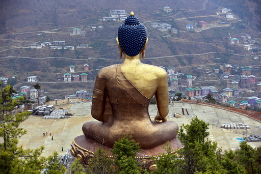 The Buddha Dordenma statue overlooks the town of Thimphu