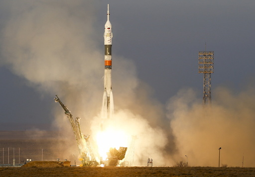 The Soyuz TMA-19M spacecraft carrying the crew of Timothy Peake of Britain, Yuri Malenchenko of Russia and Timothy Kopra of the U.S. blasts off to the International Space Station (ISS) from the launchpad at the Baikonur cosmodrome, Kazakhstan