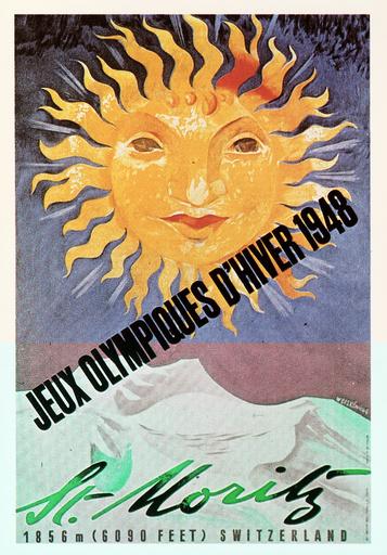 Winterolympiade 1948, St.Moritz /Plakat - Winter Olympics 1948, St.Moritz /Poster -
