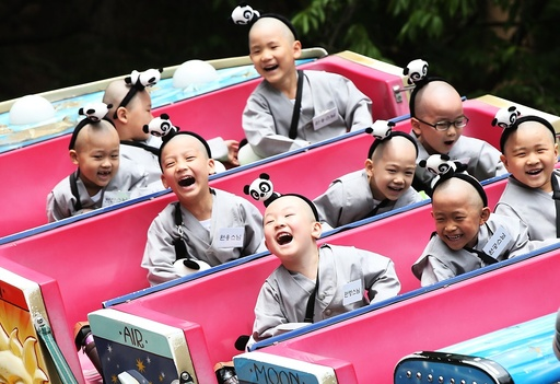 Child monks at an amusement park south of Seoul
