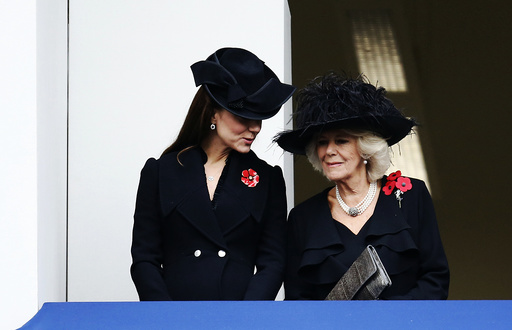 Britain's Catherine, Duchess of Cambridge, and Camilla, Duchess of Cornwall, attend the annual Remembrance Sunday ceremony at the Cenotaph in London