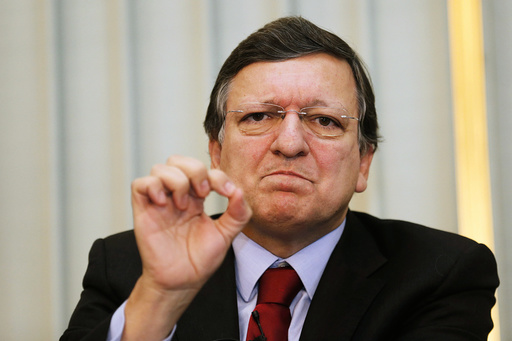 European Commission President Jose Manuel Barroso gestures as he speaks during a news conference in Oslo