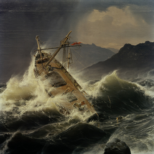 A.Achenbach, Ein Seesturm v.norweg.Küste - A.Achenbach, Snowstorm / 1837 - A.Achenbach, Tempête en mer / 1837