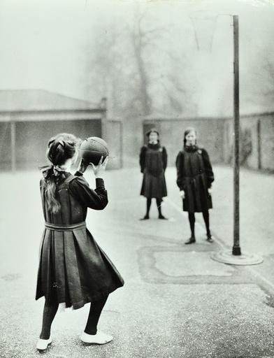 Girls playing netball, Chelsea Secondary School (Hortensia Road School), London, 1911. Artist: Unknown.