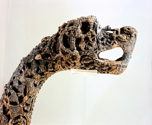 - Carved dragon-head post from the ship burial at Oseberg. Country of Origin: Norway. Culture: Viking. Date/Period: c. 850 AD. -