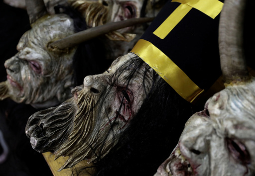 Masks of devils are seen before a Krampus show in Schladming