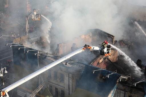 Fire in a house in Kiev
