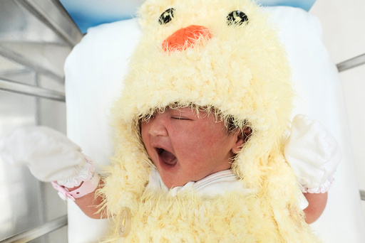 A newborn baby wearing a chicken costume to celebrate the Chinese New Year of the Rooster is pictured at the nursery room of Paolo Chockchai 4 Hospital, in Bangkok