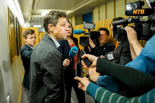 KrF-leder Knut Arild Hareide på Stortinget lørdag.