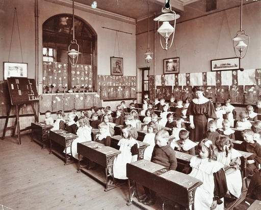 Numeracy lesson using sticks, Hugh Myddelton School, Finsbury, London, 1906. Artist: Unknown.