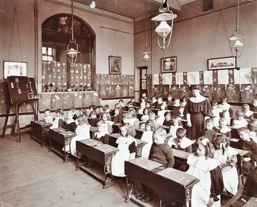 Numeracy lesson using sticks, Hugh Myddelton School, Finsbury, London, 1906. Artist: Unknown.