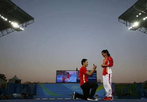 Diving - Women's 3m Springboard Victory Ceremony