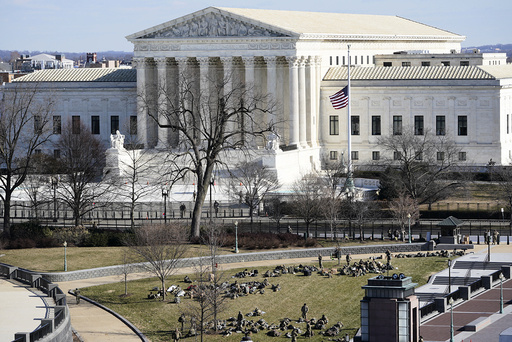 A view of the Supreme Court in Washington, Tuesday, Jan. 19, 2021, ahead of the 59th Presidential Inauguration on Wednesday. (AP Photo/Susan Walsh, Pool)