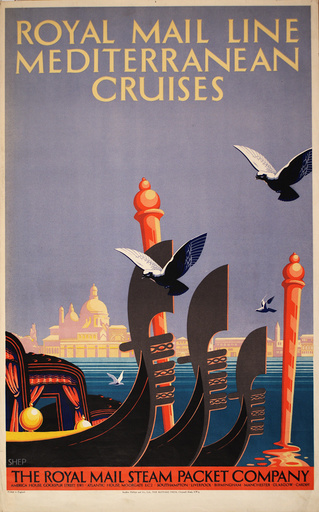 Poster advertising Royal Mail Line Mediterranean Cruises