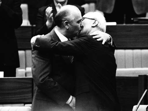 FILE PHOTO OF SOVIET LEADER GORBACHEV AND EAST GERMAN HONECKER BEFORE FALL OF THE BERLIN WALL