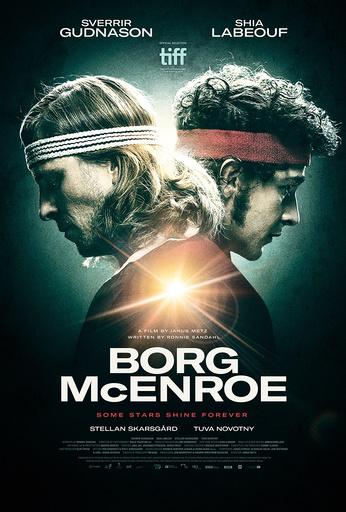 BORG VS MCENROE, (aka BORG MCENROE), poster, from left: Sverrir Gudnason as Bjorn Borg, Shia