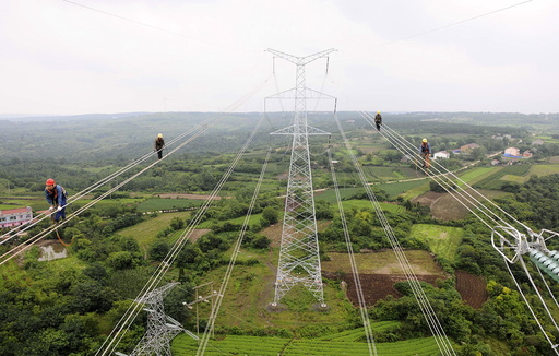 Workers walk along wires as they inspect the newly-built electricity pylons above crop fields in Chuzhou