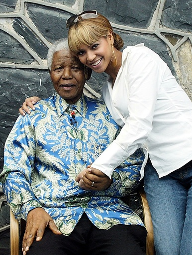 Former South African president, Nelson Mandela and R&B diva Beyonce Knowless at the launch of the 46664 HIV/AIDS awareness concert
