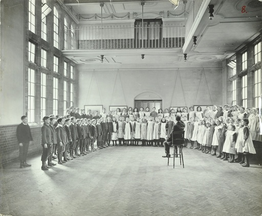 Singing lesson, Jews' Free School, Stepney, London, 1908. Artist: Unknown.