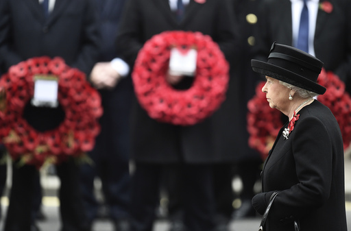 Britain's Queen Elizabeth rakes part in the Remembrance Sunday ceremony at the Cenotaph in Westminster, central London