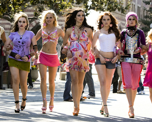 HOUSE BUNNY, THE (2008), directed by FRED WOLF. RUMER WILLIS; ANNA FARIS; KAT DENNINGS; KATHARINE MCPHEE; EMMA STONE.