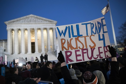 Senate and House Democrats rally to oppose US President Donald J. Trump's immigration ban in front of the Supreme Court