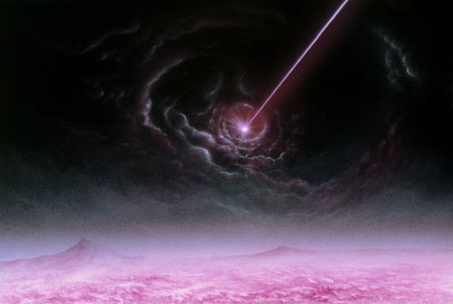 Illustration of a pulsar as seen from its planet