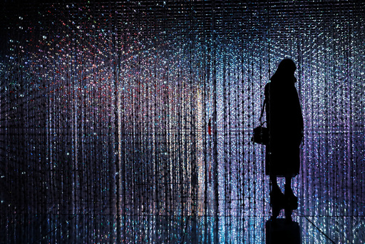 A visitor poses at a digital installation which is a part of