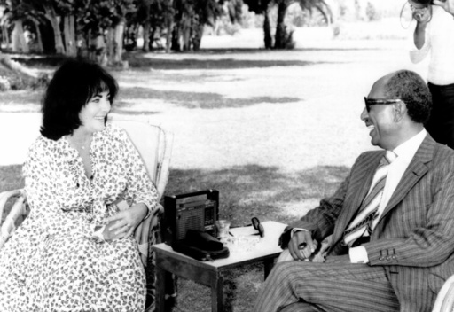 From left, Elizabeth Taylor, Egyptian President Anwar Sadat, in Ismailia for the Cairo Film