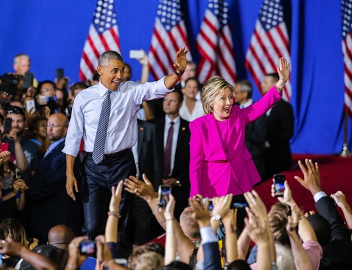 Hillary Clinton holds campaign rally with US President Barack Obama in Charlotte, North Carolina, USA