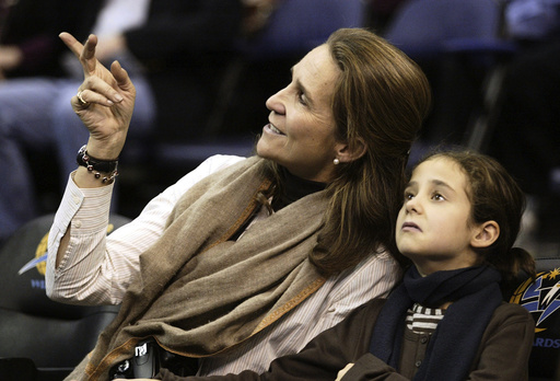 Spain's Princess Elena and her daughter Victoria Federica attend the Washington Wizards NBA basketball game against the Toronto Raptors in Washington