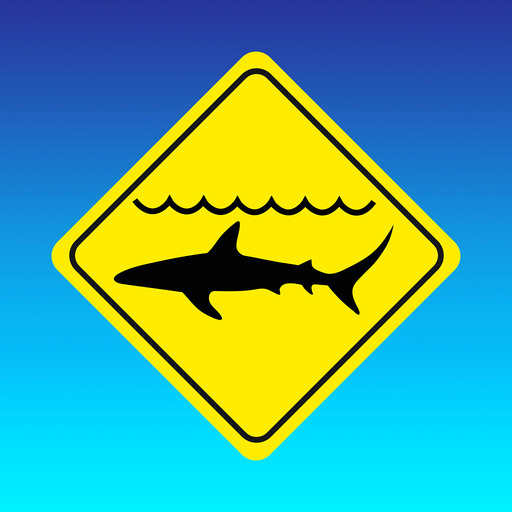 Shark warning sign, computer artwork