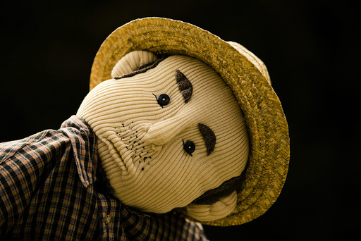 A scarecrow is pictured in the mountain village of Nagoro