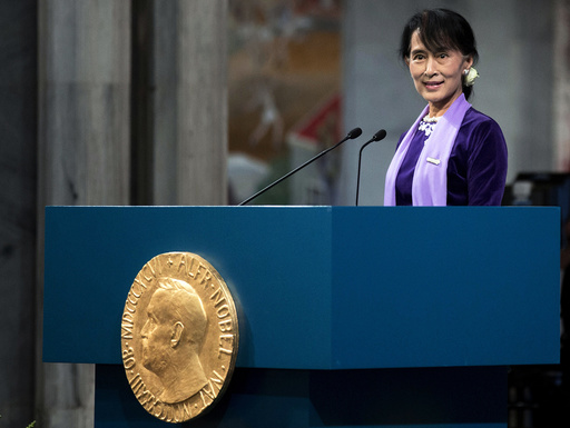 Myanmar opposition leader Aung San Suu Kyi delivers her Nobel acceptance speech during a ceremony at Oslo's City Hall